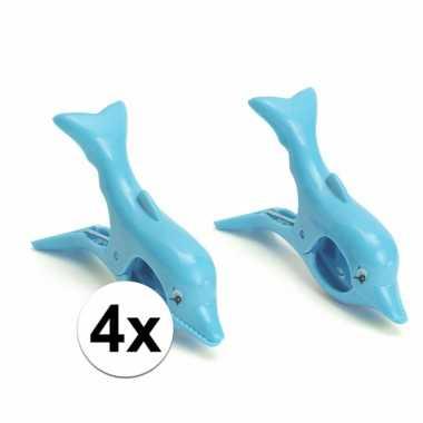 4 blauwe badlaken knijpers dolfijn