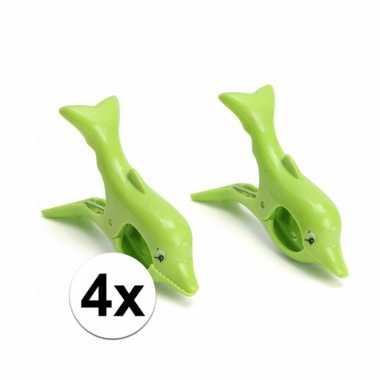 4 groene badlaken knijpers dolfijn