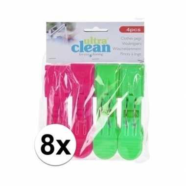 8x wasknijpers roze en groene 13 cm