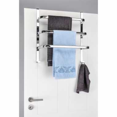 Badhanddoek houder voor aan deur chroom 56 cm