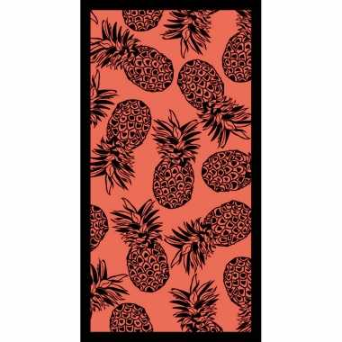 Badlaken/badlaken fuchsia met ananas print 90 x 170 cm