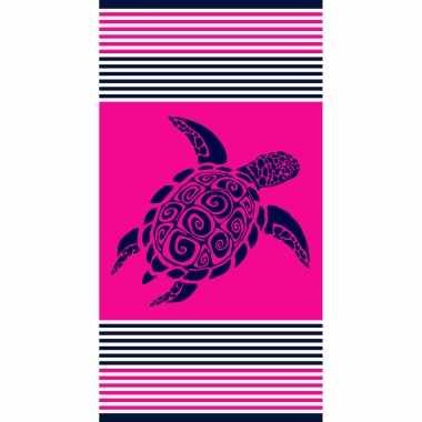 Badlaken/badlaken fuchsia met schildpad 90 x 170 cm