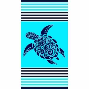 Badlaken/badlaken turquoise met schildpad 90 x 170 cm