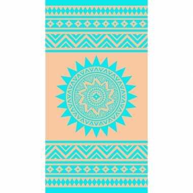 Blauw/roze badlaken ibiza style sunkiss 90 x 170