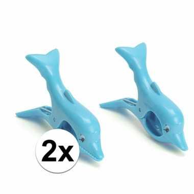 Dolfijnen handdoeken knijpers blauw 2 stuks