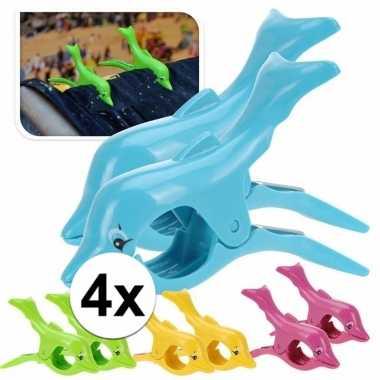 Dolfijnen handdoeken knijpers groen 4 stuks