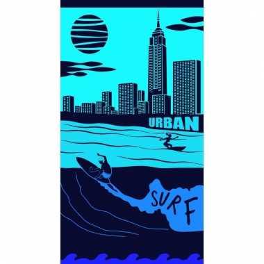 Gekleurd badlaken city surf 95 100 x 175