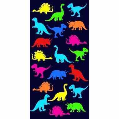 Gekleurd badlaken dinosaurus print dino 70 x 140 cm