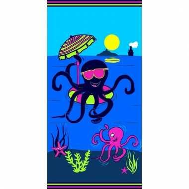 Gekleurd badlaken octopus 70 x 140 cm