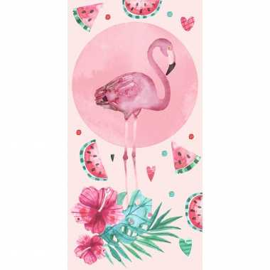 Katoenen badlaken met flamingo print 70 x140 cm