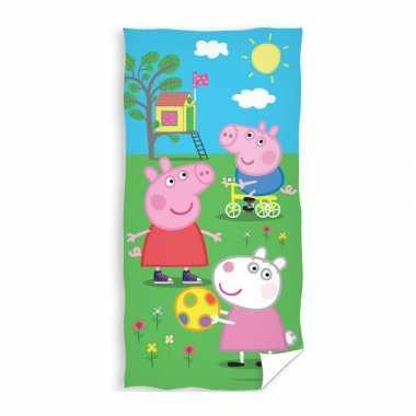 Katoenen badlaken met pig print 70 x140 cm