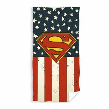 Katoenen badlaken met superman print 70 x140 cm