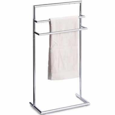 Luxe handdoek badkamer rek zilver 3 stangen metaal 44 x 83 cm