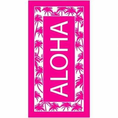 Roze/wit badlaken aloha 90 x 170