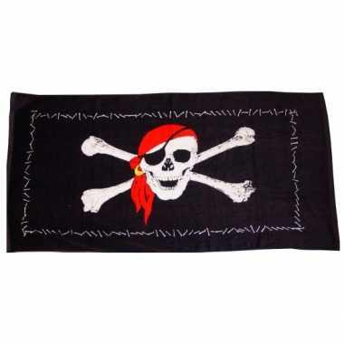 Zwart piraten badlaken 75 x 150