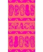 Badlaken pink flip flop 90 x 170 cm
