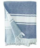 Blauw wit badlaken hammam chevron 90 x 160
