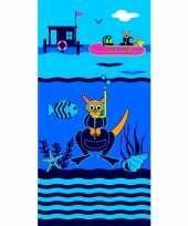 Gekleurd badlaken diving school 70 x 140 cm