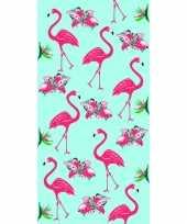 Gekleurd badlaken flamingo print 70 x 140 cm