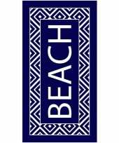 Navy wit badlaken beach 90 x 170